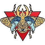 Toppa ricamata da applicare con ferro da stiro o cucitura, tema: Lo scarabeo occulto