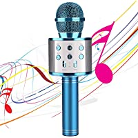 Karaoke Microphones for Kids Wireless Bluetooth Microphone, Portable Handheld Toy Karaoke Mic Speaker Machine, Home KTV Player with Record Function, Compatible with Android iOS Devices(Blue)
