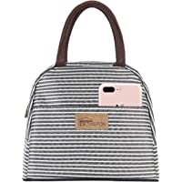 HOMESPON Insulated Lunch Bag Cool Bag for Lunch Boxes Striated Waterproof Fabric Foldable Picnic Handbag for Women, Adults, Students (Grey)