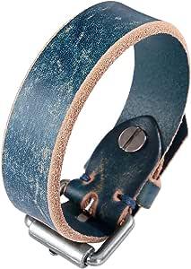 Aeici Braccialetti di Cuoio Genuino della Sua Hers Brown Cuff Bracelet Bracciali con Lunghezza Regolabile