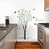 WallDesign Cute Lemon Yellow Tree Flying Birds and Leaves Wall Stickers