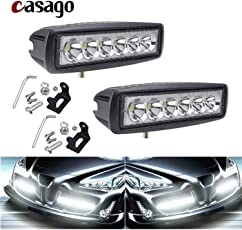 Casago CS6I62P 6 Inch 6 LED Fog Light IP67 Waterproof CREE LED Flood Bar with Mounting Brackets for Motorcycle and Cars (18W)