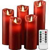 """YIWER Bougies sans flamme 5.5""""6""""6.5""""7""""8""""Ensemble de 5 piliers réels Les piliers non en plastique LED de et une télécommande à"""