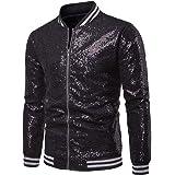 Charmlinda Mens Casual Sequin Jacket, Long Sleeve Collared Zip Up Slim Fit Overcoat, Party Bar Garment Dance Coat