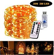 Gluckluz String Lights 200 LED Indoor Fairy Lighting USB Powered 20m Starry Copper Wire Firefly Twinkle Warm Decoration with