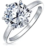 2.75CT Solitaire CZ Engagement Wedding Ring Thin Band Cubic Zirconia Sterling Silver, Gold Or Rose Gold Plated Silver