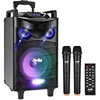 Karaoke Lautsprecher, Moukey Bluetooth tragbares Karaoke System Spitzenleistung 200W PA Anlage mit DJ Lights VHF…