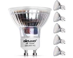DiCUNO Ampoule LED GU10, 5W, 600LM, Blanc neutre 4000K, équivalent 50W lampe halogène, Ampoule LED Spot Culot GU10, Non-dimma