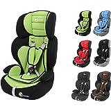 Clamaro 'Guardian' Kinderautositz 9-36 kg Kopfstütze verstellbar mitwachsend, Auto Kindersitz für Kinder von 1-12 Jahre, Gruppe 1/2/3, ECE R44/04, Farbe: Schwarz Grün