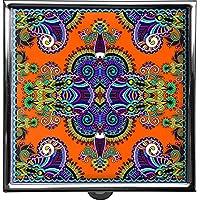 metALUm Pillendose/quadratisch / Modell Thorben/Blumenmuster und Ornamente in schwarz und orange / 42010012 preisvergleich bei billige-tabletten.eu