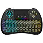 Colorful Backlit 2.4GHz Mini Wireless Keyboard with Touchpad Mouse Combo Rechargeable for PC, Android TV Box, Projector-H9