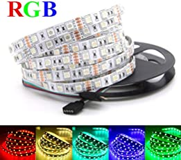 Jump Start Remote Flexible RGB LED Strip 5050 Light-Color Changing Decoration Light with IR Controller (5M)