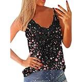 ZANZEA Women's Sexy Spaghetti Sleeveless Vest V Neck Lace Cami Tank Tops Summer Casual Loose Solid Color T-Shirt Blouse