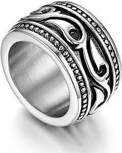 Flongo Anello di Fidanzamento per Uomo, Anello di Tenuta Grande Celtico Anello Irlandese Vikings Celtiche, Amuleto Anello in Acciaio Inox