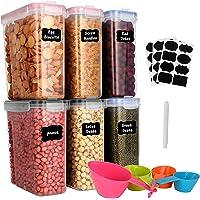 GoMaihe 4L Boite de Rangement Cuisine Lot de 6, Bocaux Hermetiques Alimentaires en Plastique Scellée avec Couvercle…
