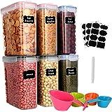 GoMaihe 4L Boite de Rangement Cuisine Lot de 6, Bocaux Hermetiques Alimentaires en Plastique Scellée avec Couvercle, pour Sto