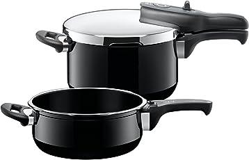 Silit Sicomatic t-plus Schnellkochtopf Set 2-teilig 4,5l & 3,0l mit Einsatz, Silargan Funktionskeramik, 3 Kochstufen Einhand-Kochstufenregler induktionsgeeignet, spülmaschinengeeignet, schwarz, Ø 22 cm
