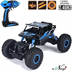 Negi 1:18 Rechargeable Rock Crawler 4WD 2.4 Ghz 4x4 Rally Car RC Monster Truck Kids Play Toys (Blue)