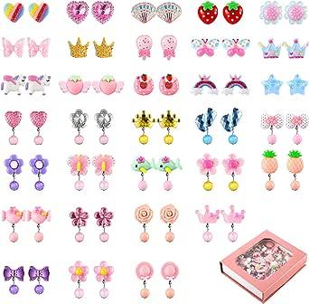 Hicarer 32 Paar Mädchen Clip auf Ohrringe Ohrclips Mädchen