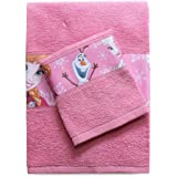 Disney Frozen SPGN3001063 Asciugamano e Ospite con Bordo Stampato, 100% Cotone, Rosa, 29x24x2.5 cm