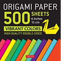"Origami Paper 500 sheets Vibrant Colors 6"" (15 cm): Tuttle Origami Paper: High-Quality Origami Sheets Printed with 12…"