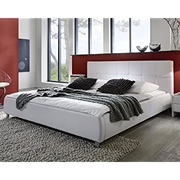 SAM® Polsterbett Weiß 180x200 Cm, Bett Mit Chrom Farbenen Füßen, Kopfteil  Modern Im Abgesteppten Design, Doppelbett Auch ALS Wasserbett Geeignet  [53256018]