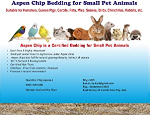 2Kg Aspen Chip Wood Bedding for Small Pet Animals Like Hamsters, Guinea Pigs, Gerbils, Rats, Mice, Snakes, Birds,Chinchillas, Rabbits, etc.