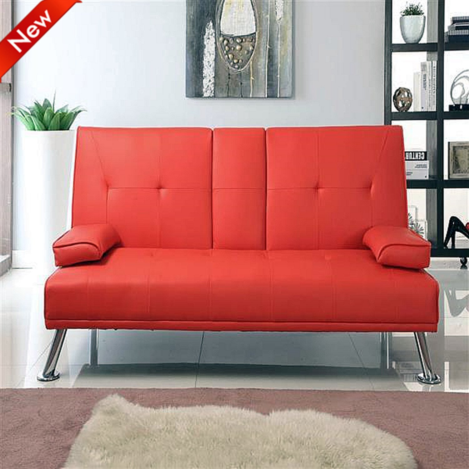 Modern leather sofa bed - Popamazing Modern Faux Leather 3 Seater Sofa Bed With Fold Down Table Cup Holder Sofa Beds Red Amazon Co Uk Kitchen Home