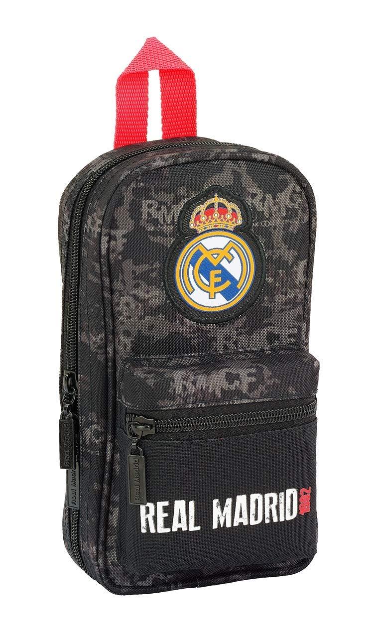 Real Madrid- Estuches Unisex Adulto Plumier Mochila con 4 portatodo llenos Black' 411924-747 Accesorios, Multicolor, Talla única (SAFTA 1)