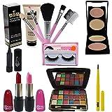 SWIPA Exclusive Beauty Combo Set(Foundation(60ml),5Pcs Makeup Brush,2in1 Compact Powder,kajal,Eyelashes,12color Eyeshadow,3co