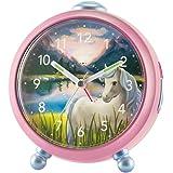 Atrium Barns Siabelle hästklocka – inget tickande, snooze, ljus, analog, kvarts, rosa – A932-17