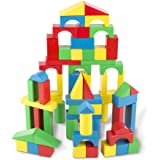 "Melissa & Doug Wooden Building Blocks Set (Developmental Toy, 100 Blocks in 4 Colors and 9 Shapes, 13.5"" H x 3.5"" W x 9…"