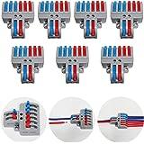 CTRICALVER Lever-Nut Surtidas Conector Paquete de 7, Bloque de Terminales de Barra de Presión Bilateral, 2 en 6 fuera Conduct