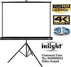 Inlight Universal Projector Screen with Stand, Size: 100 inches Dia, 7 Ft. x 5 Ft, 4:3 Ratio, UHD-3D-4K Ready Technology
