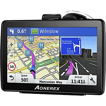 Car Sat Nav GPS Navigation System Aonerex-7 inch HD Touch Screen, Satellite Navigator Device with Post CodeSearch,Pre-installed UK and EU Latest 2018 Maps with Lifetime Free Updates