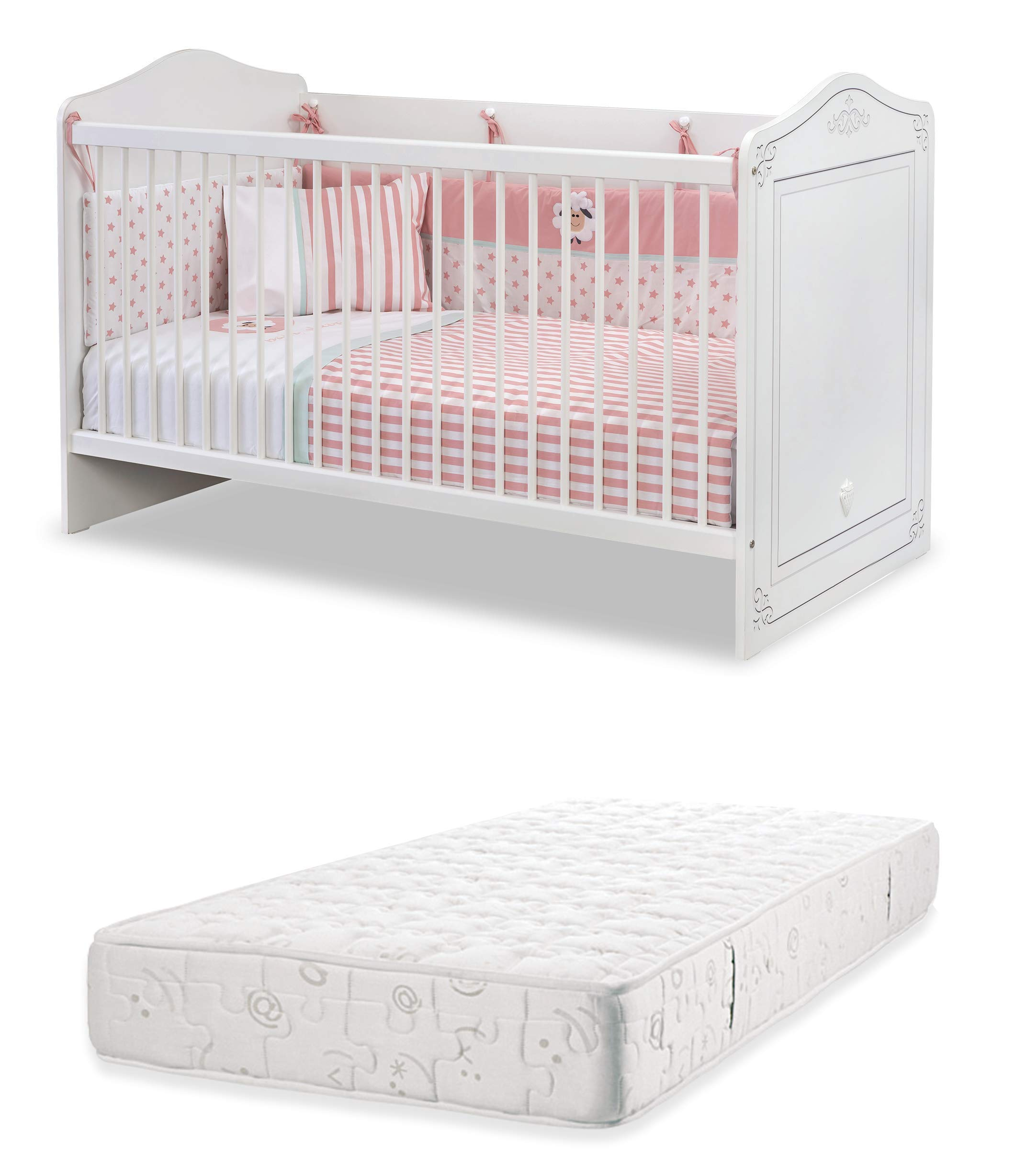 Dafnedesign.com - Cot early childhood bedroom for newborn or toddler - A baby cot with safety cage with poles - Includes a mattress - Width: 146 cm Height: 92 cm depth: 78 cm - [Series: Daphne-Classical] - (DF11) Dafnedesign 1 bed early childhood bedroom Baby bed Safety cage with poles 1