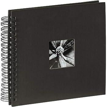 Hama 00090145 Album photo Fine Art, 50 pages noires (25 pages), album à spirales 28 x 24 cm, avec découpe pour y mettre une photo, noir