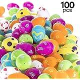 Lot de 100 œufs de Pâques Multicolores Prextex Œufs de Pâques à Motifs Divers à remplir Chasse aux œufs de Pâques Œufs à remplir