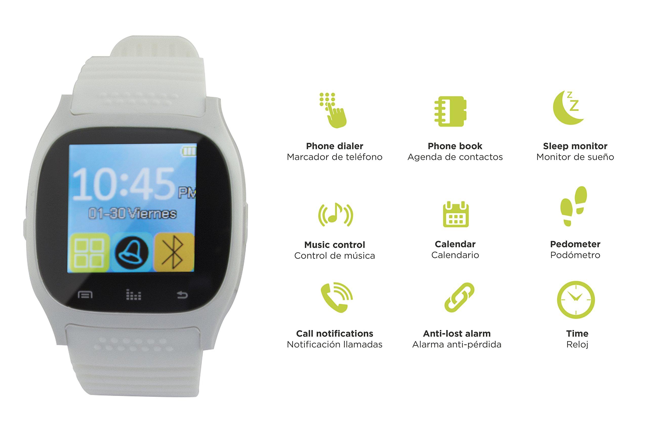"""Ksix BXSW10B - Smartwatch de 1.3"""", Color Blanco 2"""
