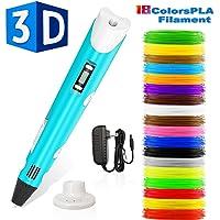 Stylo 3d,Lovebay3d impression pen avec écran LED,compatible avec filament PLA/ABS +18 multicolores,3d professionnel pen conformes aux normes de l'UE,pour enfant,adulte,artiste[stylo cadeau de créatif]