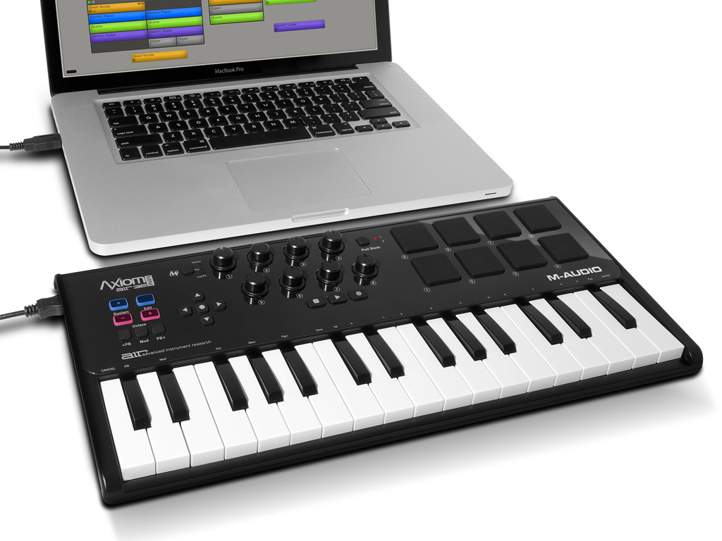 m audio axiom air mini 32 ultra portable 32 key usb midi keyboard controller with 8 trigger. Black Bedroom Furniture Sets. Home Design Ideas