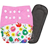 Bembika A Plus Printed Cloth Diapers for Babies, Washable Reusable, Adjustable Sizes with 5 Layer Bamboo Charcoal Insert…
