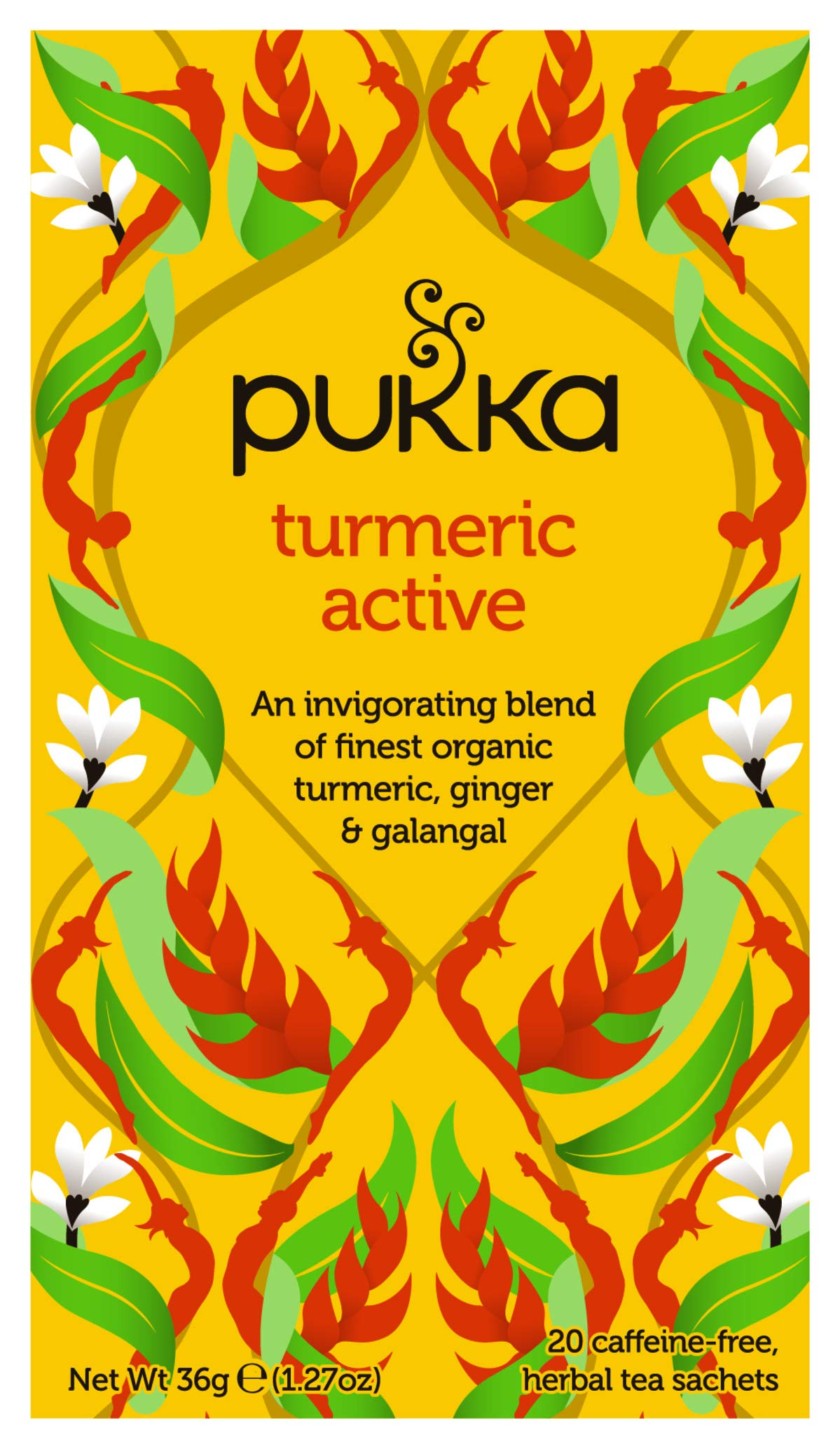 Pukka Turmeric range tea (soil association) (green tea) (20 bags) (a fruity, spicy, vegetal tea with aromas of cardamom, lemon, liquorice, turmeric) (brews in up to 15 min)