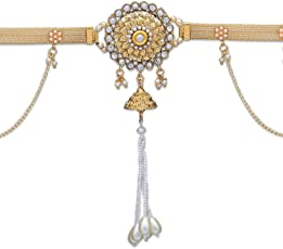 Prita Partywear Gold Plated Beautiful Belly Chain (Kamarband) for Women/Girls