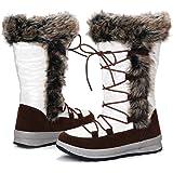 gracosy Botas Nieve Mujer Forro de Piel Invierno Antideslizante Plataforma Zapatos Calentar Cremallera Botines Cordones Imper