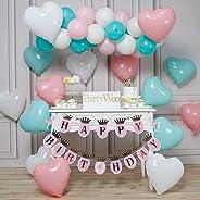 PartyWoo Ballon Menthe et Rose, 46 pcs Ballon Vert Menthe, Ballon Rose Pastel, Ballon Ivoire, Ballon Cœur et Happy Birthday B