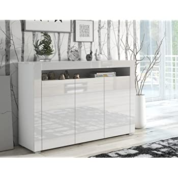 2ca5fff531bc4 If Modern Large White High Gloss Sideboard Quality Cupboard Cabinet Unit White  High Gloss Top & Doors/White Matt Body LILY