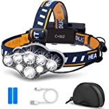 Cobiz LED Headlamp Rechargeable 2020 Newest 13000 Lumen Ultra Bright 8LED Headlight Flashlight with White Red Lights, USB Rec