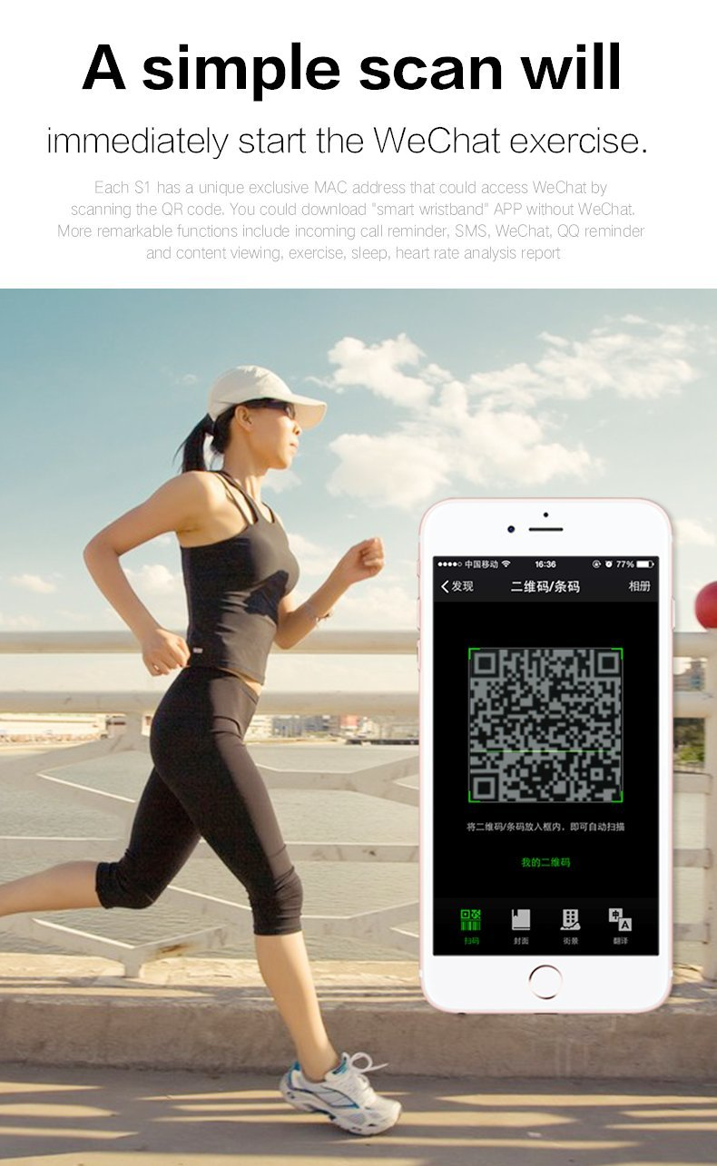 Winnes Fitness Tracker, S1 Smart Bluetooth Wristband Podometer Smart Wristband Sleep Monitor, Reloj de Pulsera… 3