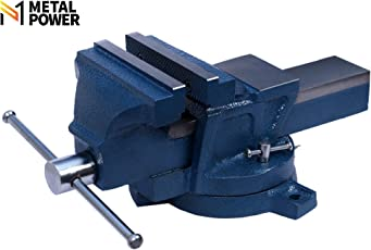 """Metal Power 125 mm (5"""") Bench Vice with Swivel Base (Blue Hammer Tone)"""